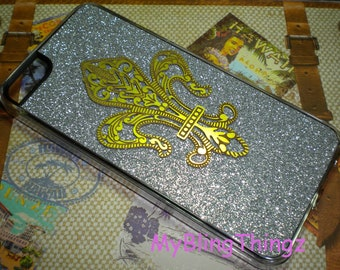 For iPhone 4 4S - Brass Metal Stamping - Fleur De Lis on Silver Glitter Sparkle Bling Case Cover Shell