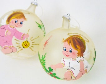 christmas ornaments - 50s hand painted glass ornaments - vintage christmas decorations - holiday decor