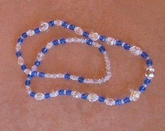 Vintage 60s - Clear and blue Swaroski crystal necklace
