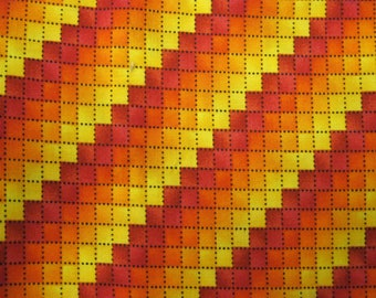 Orange Yellow Red Geometric Fat Quarter