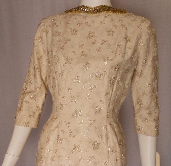 Vintage Ivory and Gold Wiggle Dress Vintage Wedding Mad Men Joan 1960s