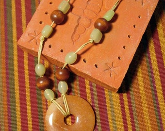 Donut Necklace with glass and wood beads