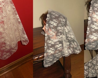New  Cream  Beige church lace net veil -  very pretty - soft - scalloped