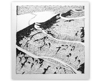 Ink drawing, 'Hill-fort', black and white, original drawing, black ink, hilltop, 5x5 inches