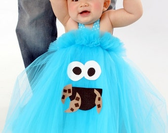 Cookie Monster Inspired Tutu Dress Costume for dress up or playtime or birthday parties Choose your character Elmo Oscar Abby Big Bird