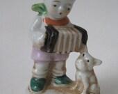 Boy Dog Figurine Xylophone Vintage Porcelain