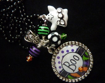 PERSONALiZED Boo Bezel Pendant Necklace/Keychain/Backpack Zipper Pull With Boo Charm No. 2
