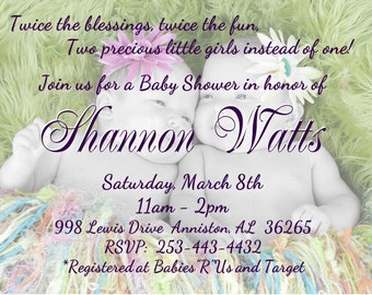 TWINS Baby Shower Invitation for GIRL