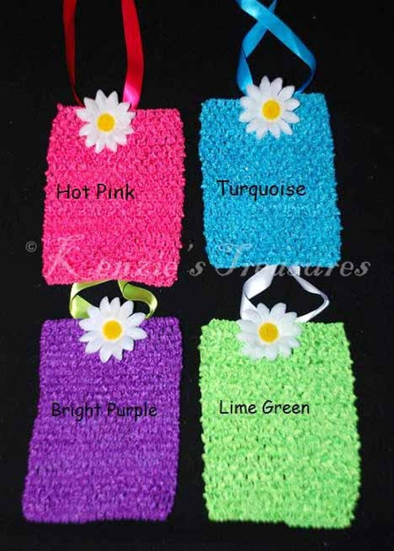 """Create Your Own 8"""" or 9"""" Elastic Crochet Tutu Dress Top With Ribbon and Flower"""
