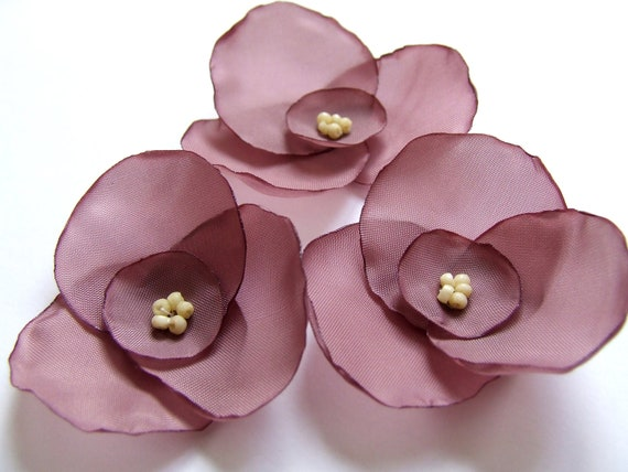 Artificial flowers, Fabric flowers, Set of 3. Purple flowers, Violet flowers, Silk flowers, Wholesale flowers