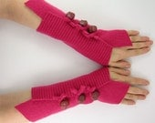 Felted wool  fingerless gloves arm warmers eco friendly fashion fingerless mittens arm cuffs raspberry recycled wool  tagt team teamt