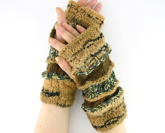 knit fingerless gloves arm warmers fingerless mittens fall autumn brown black blend and olive brown unisex tagt curationnation