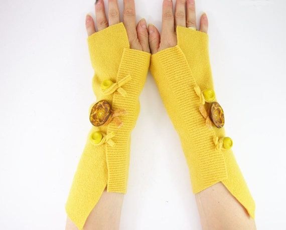 Fingerless mittens arm warmers fingerless gloves arm cuffs in eggnog banana yellow eco friendly recycled wool