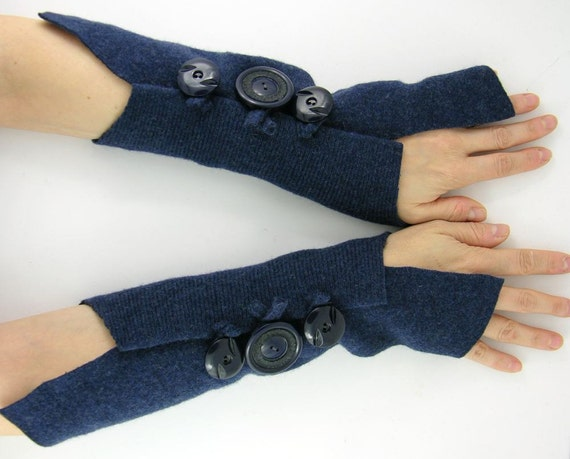arm warmers arm cuffs  fingerless gloves eco friendly  navy blue recycled wool fall winter tagt curationnation