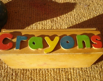 Vintage CRAYONS Box with Sliding Lid