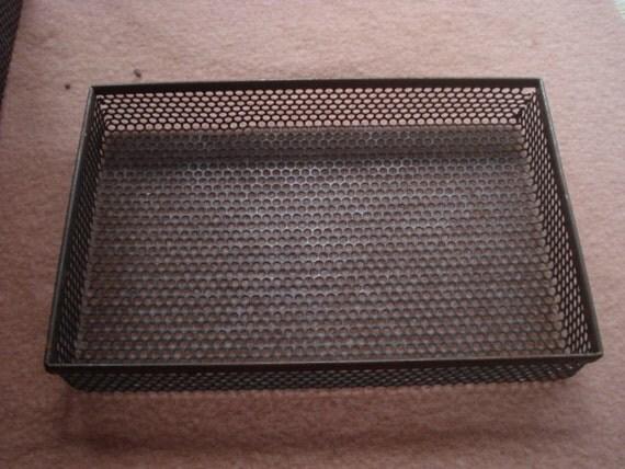 Vintage Industrial Perforated Metal Storage Tray