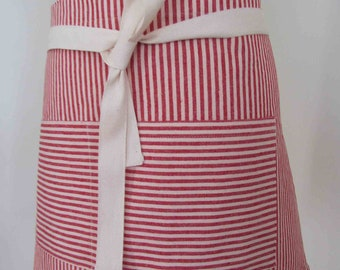Half Apron Hemp Organic Cotton Red Stripes Caterer Cook Bar