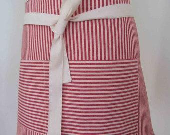 Half Apron Hemp Organic Cotton Red Stripes Caterer Cook Bar