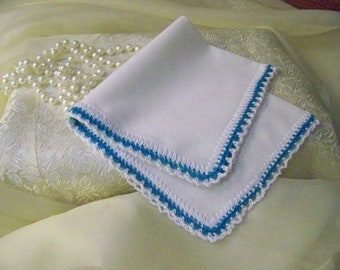 Bridesmaids Handkerchief, Blue Hanky, Turquoise, Teal, Hand Crochet, Custom Embroidered, Personalized, Ladies, Lace, Bridal party gift