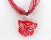 Red Lace Autobot Necklace