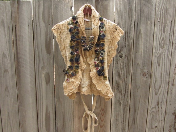 Upcycled Sweater Vest with Coordinating Necklace in Shades of Browns and Blues - Womens Upcycled Clothing - Size Medium Large
