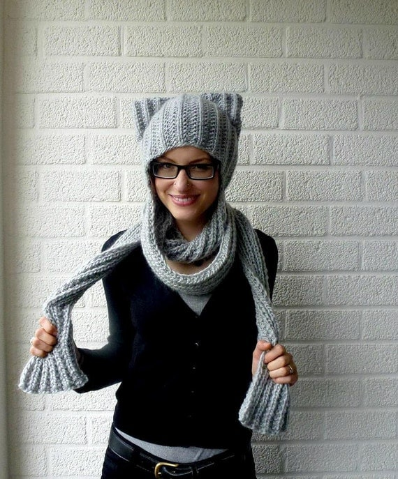 Hooded Scarf, Cat Ear Scoodie, Hood Scarf, Kitty Hoodie Scarf - Light Gray