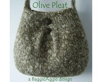 INSTANT DOWNLOAD Felted Purse Pattern, PLEAT, Felted Bag Pattern, Knitting Pattern Bag, Knitting Pattern Purse, Designer, pdf