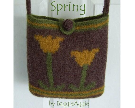 Felted Bag Pattern DOWNLOAD, Felted Purse Pattern, Knitting Pattern, Designer Knitting Pattern, Pattern pdf - SPRING