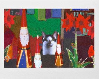 Santa's Cat Greeting Cards, Designer Cat Holiday Cards,  Matching White Envelopes, Artwork by Deborah Julian