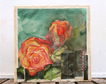 SALE! on sale- watercolor encaustic painting rose- abstract floral,original painting, yellow, orange, butterfly
