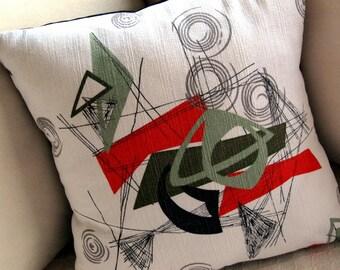 50% OFF - Retro Barkcloth Throw Pillow Cover - Vintage Atomic Mobiles - Deep Orange, Greens and Grey on White