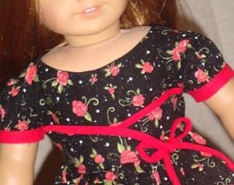 Whimsical Roses Dress For American Girl Or Similar 18-Inch Dolls