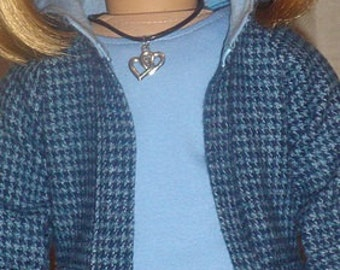 Blue Houndstooth Jacket, T-Shirt & Jeans Outfit For American Girl Or Similar 18-Inch Dolls