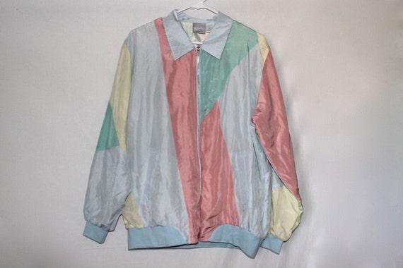 80s Kawaii Vintage Pastel Bianca Silk Jacket