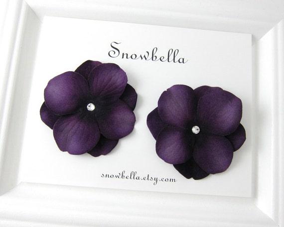 Aubergine Purple Velvet Hydrangea Flower Hair Clips