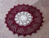 Burgundy Red & Ecru Crochet Lace Doily, Elegant Home Accent, Cyber Monday Etsy, Christmas Decoration