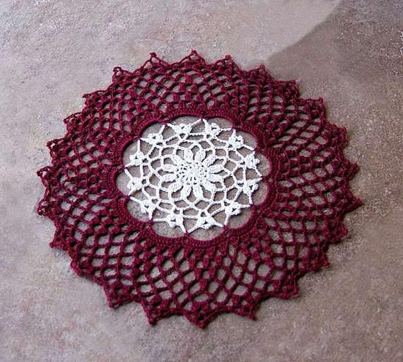 Burgundy Red & Ecru Crochet Lace Doily, Elegant Home Accent, Cyber Monday Etsy, Christmas Decoration