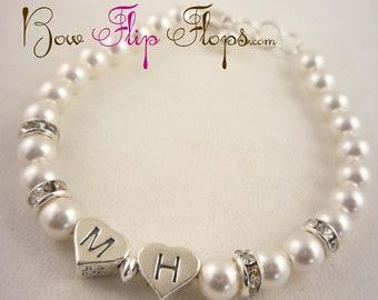 Flower Girl Bracelet with initials & Rhinestone Bling