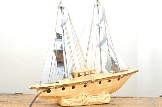 Vintage Ceramic Ship Lamp