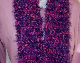 Purple and Navy Scarf Crochet Neckwarmer Gift for Mom Baja Ladder Yarn Multicolor Scarf