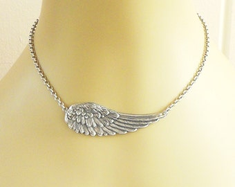 Steampunk Angel Wing Necklace- Sterling Silver Ox Finish