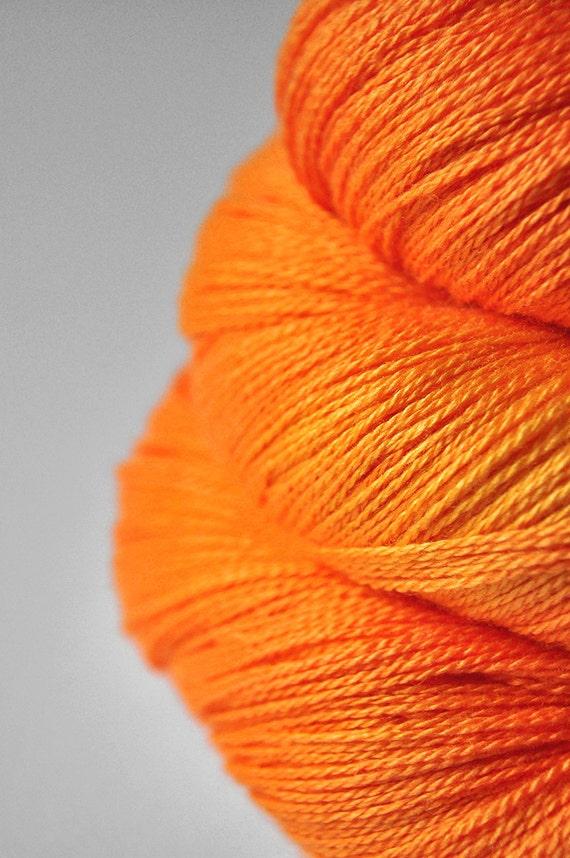 Exploding orange OOAK - Silk/Merino Yarn Lace weight