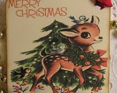Vintage Christmas Tags - Merry Christmas Reindeer with his Feathered Friends