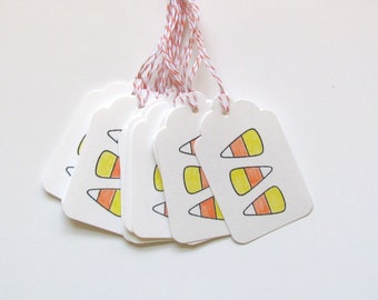 Candy Corn Stamped Gift Tags Halloween Party Tags