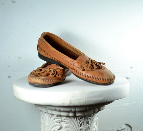 Shabby Chic Leather Moccassins 9.5