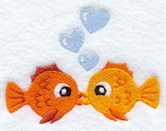 Flour Sack Towel - Kissing Goldfish Embroidery Designs