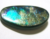Ammolite Cabochon Stabilized Bright Blue Green Organic Designer One of a Kind Hand Cut in Canada
