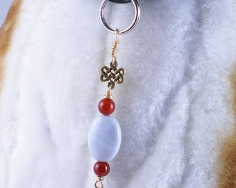 The Eternal Knot - jewelry for dogs or people, agate gemstones, pendant collar charm zipper pull