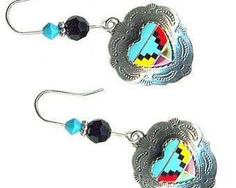 Zuni-style sterling silver heart gemstone inlay earrings