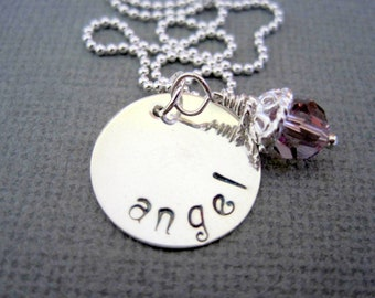 Angel name necklace-hand stamped silver-womans pendant-inspirational necklace-sterling silver jewelry-purple crystal-girls necklace